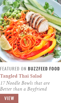 Tangled Thai Salad with Ginger Peanut Sauce | 17 Mouthwatering Noodle Bowls that are better than a Boyfriend | BuzzFeedFood Community Post Recipe Feature // JustineCelina.com