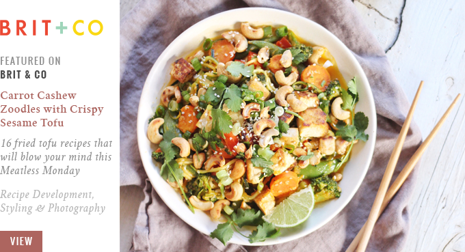 Justine Celina Featured On Brit + Co // Carrot Cashew Zoodles with Crispy Lime Tofu
