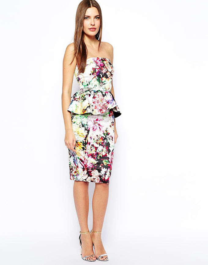 What to Wear to a Spring Wedding | ASOS Midi Bandeau Dress With Ruffle Peplum // JustineCelina.com