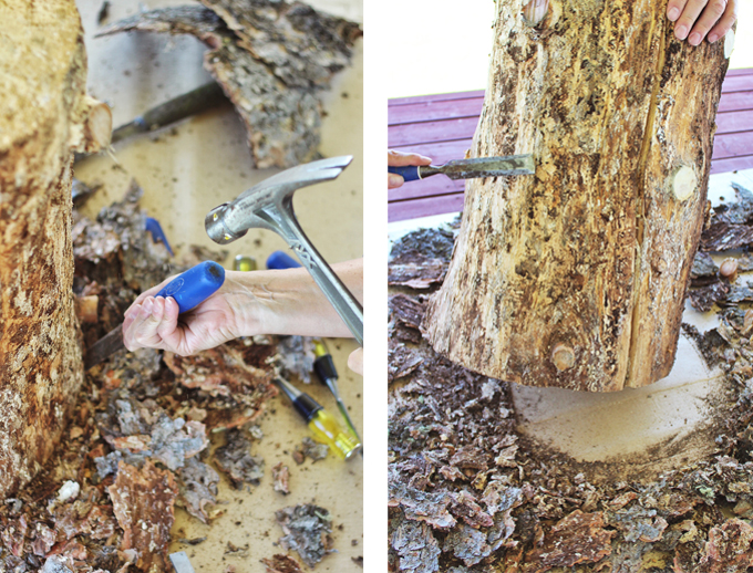 DIY   Natural Tree Stump Side Table How To // JustineCelina.com