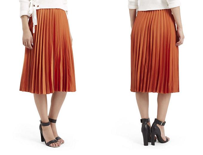 Colour Crush | Rust | Satin Pleated Midi Skirt Topshop // JustineCelina.com
