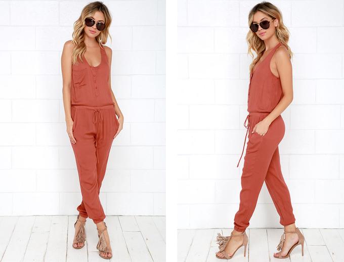 Colour Crush | Rust | Big City Dreams Rust Red Jumpsuit Lulu*s // JustineCelina.com