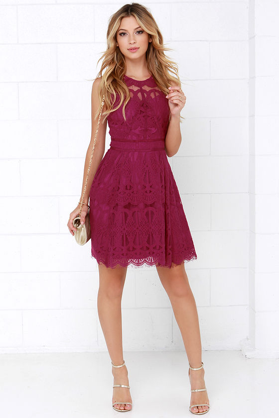 Adelyn Rae Sleeveless Lace Fit & Flare Dress
