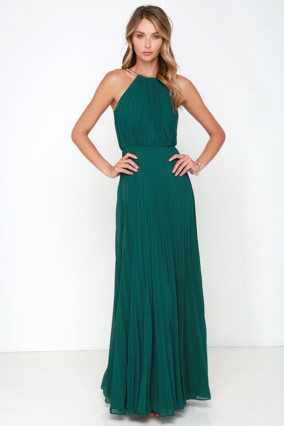 Bariano Melissa Dark Green Maxi Dress Lulus.com