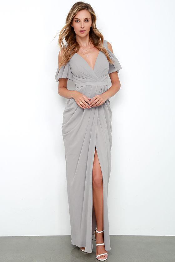 Bariano Graze-ful Dancer Grey Maxi Dress Lulus.com