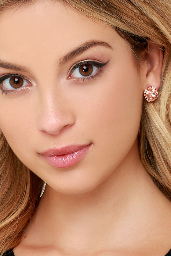 Shine With Me Peach Rhinestone Earrings