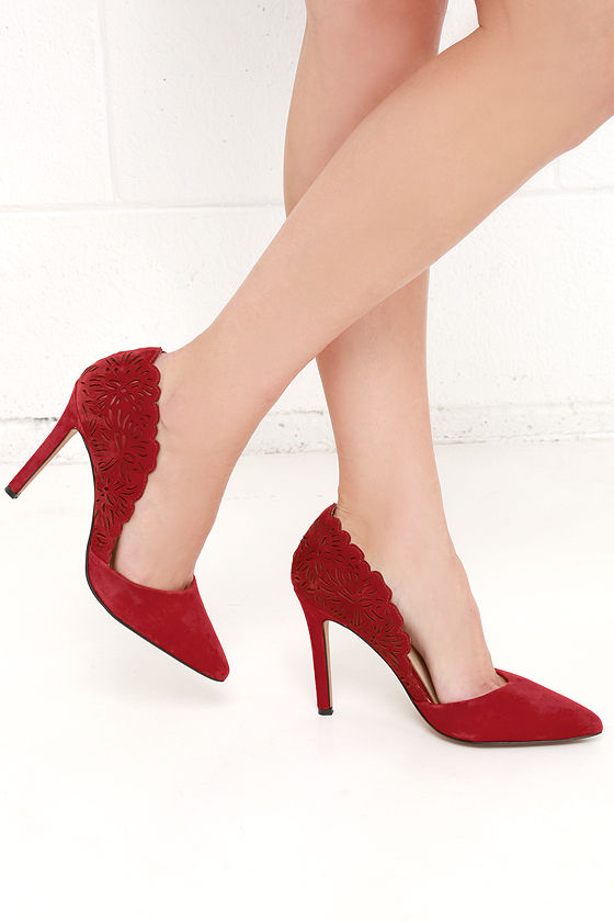 Jessica Simpson Cassel Chili Red Kid Suede Cutout D'Orsay Pumps