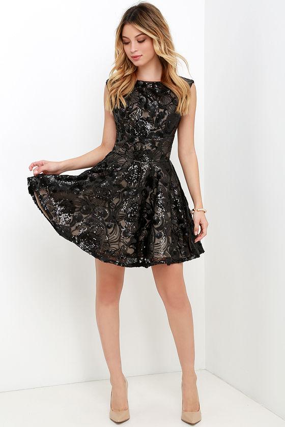 Lighthearted Endeavors Black Sequin Skater Dress