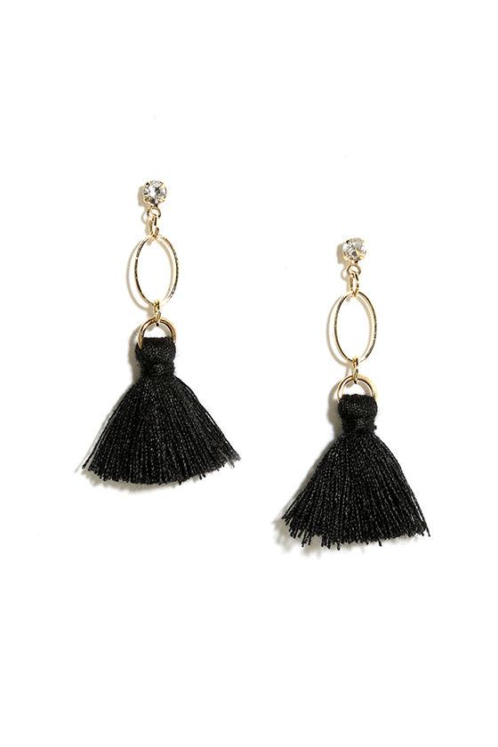 Mind Your Manor Black Tassel Earrings