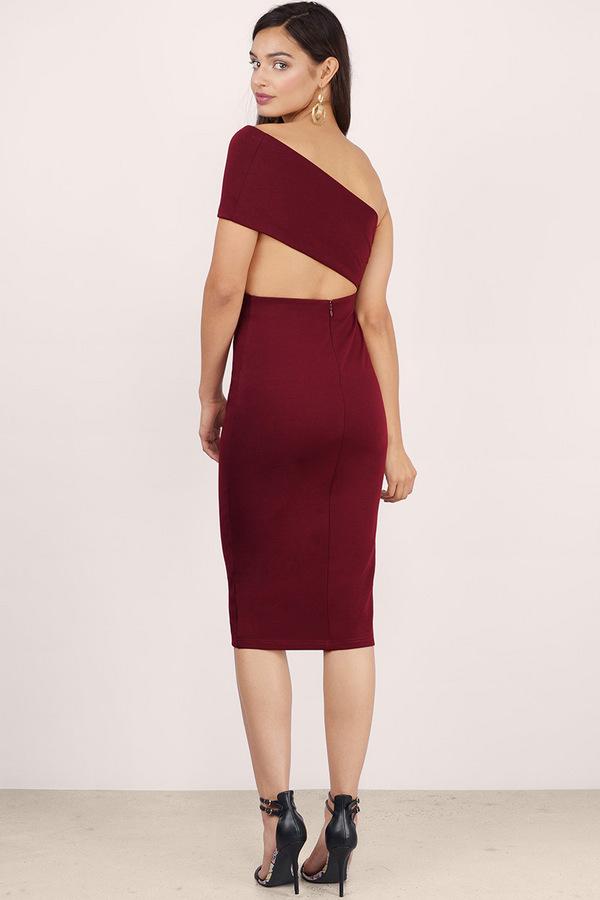 Side Swipe Bodycon Midi Dress in Wine