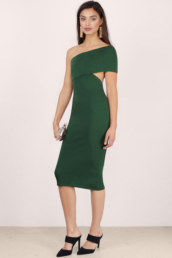 Side Swipe Bodycon Midi Dress in Green