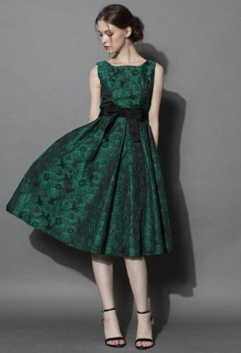 Grace Reverie Floral Dress in Evergreen