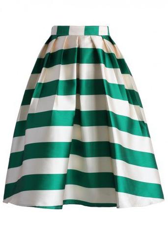 Scottish Green Striped Midi Skirt