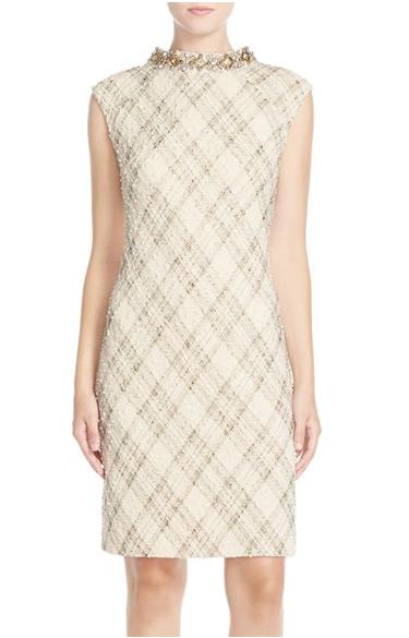 Vince Camuto Embellished Foiled Bouclé Shift Dress (Regular & Petite)