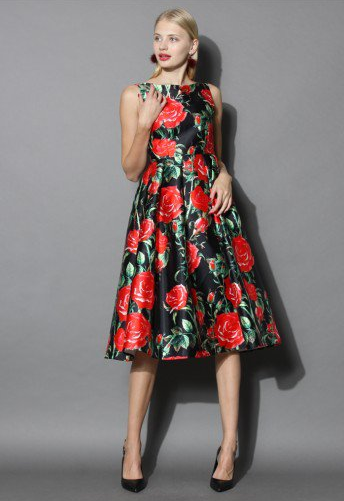 Rosy Night Print Prom Dress