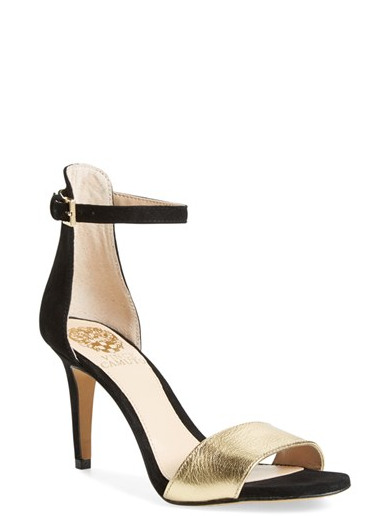 Vince Camuto 'Court' Ankle Strap Sandal in Pure Gold / Black