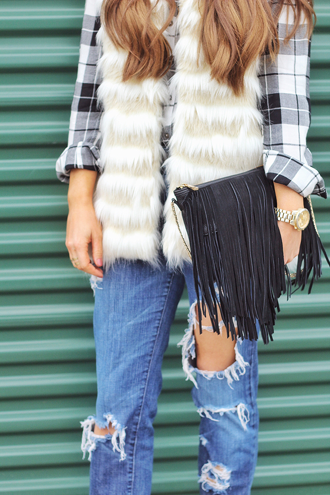 Faux Fur + Distressed Denim // JustineCelina.com
