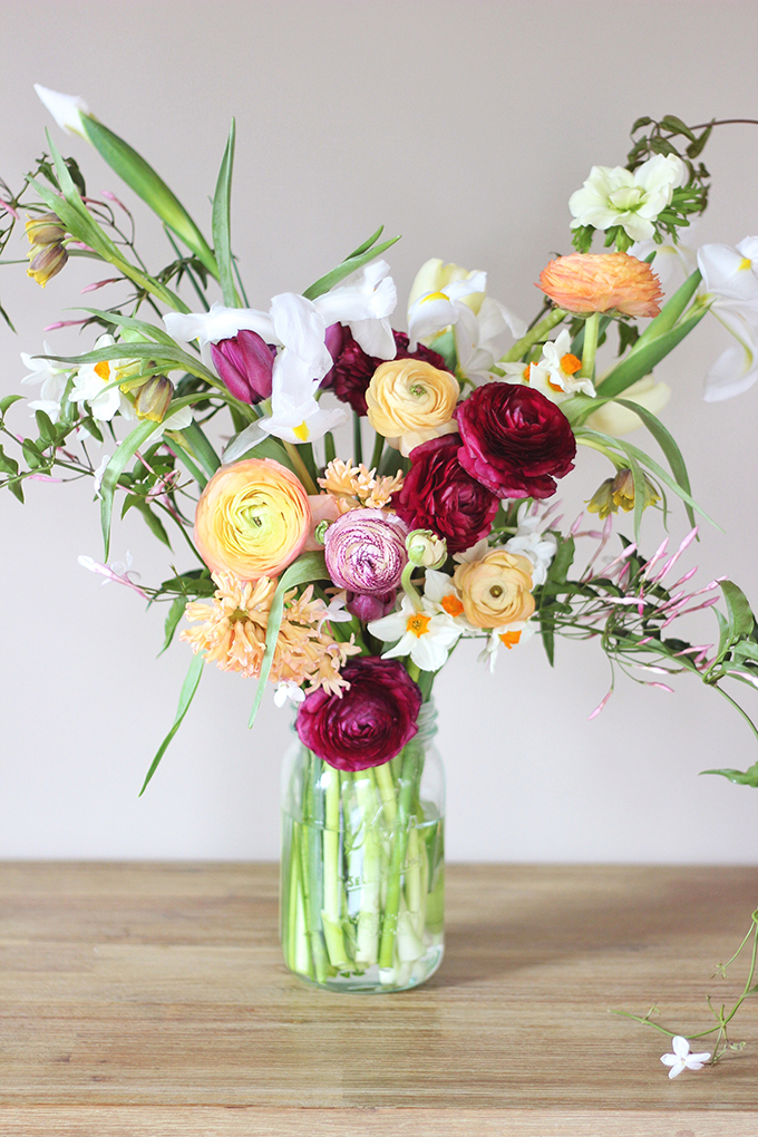 An Introduction to Spring Flowers   A fresh, gathered Spring bouquet // JustineCelina.com