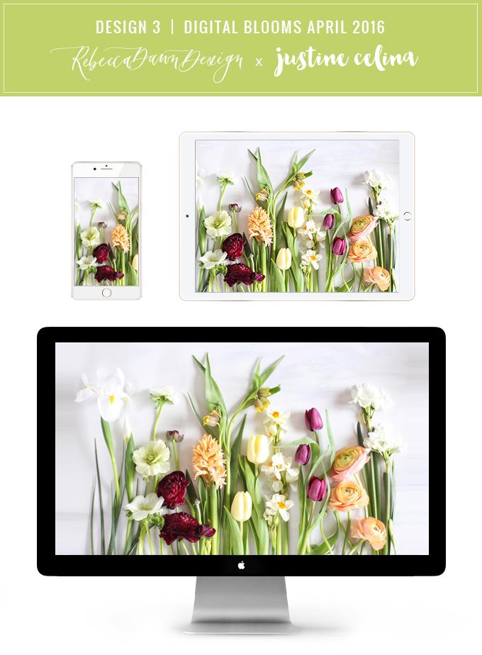 Digital Blooms Desktop Wallpaper Download 3 | April 2016 // JustineCelina.com x Rebecca Dawn Design