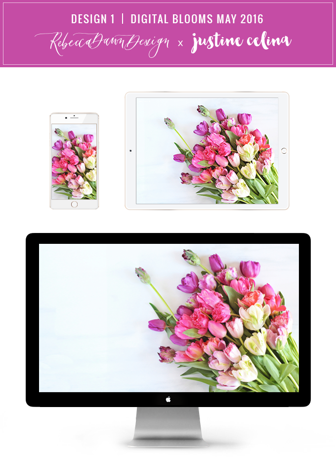 Digital Blooms Desktop Wallpaper 1 | May 2016 // JustineCelina.com x Rebecca Dawn Design