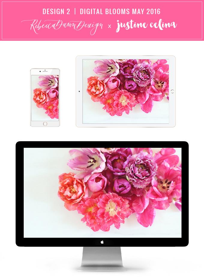 Digital Blooms Desktop Wallpaper 2 | May 2016 // JustineCelina.com x Rebecca Dawn Design