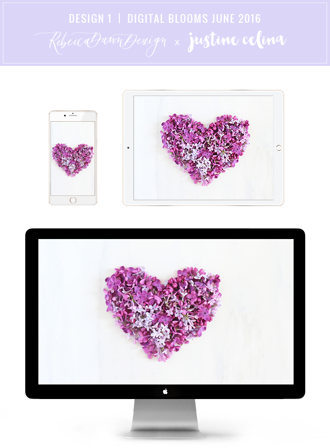 Digital Blooms Desktop Wallpaper 1 | June 2016 // JustineCelina.com x Rebecca Dawn Design