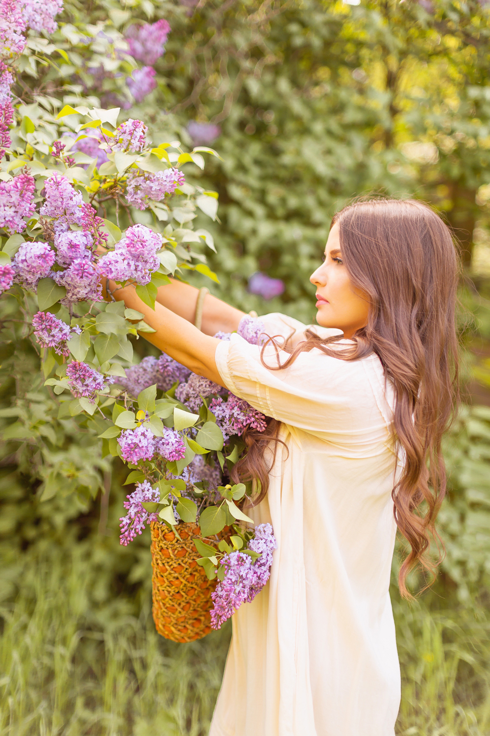 Brunette women with long wavy hair cutting lilacs from a large tree in a flowy linen dress | DIY Lilac Flower Arrangement | How to Forage Lilacs | How to Cut Lilacs from Bush or Tree | How to Prolong Lilac Vase Life | How to Arrange Lilacs | Fresh Lilac Flower Bouquet | Extremely Pretty Lilac Arrangement | Purple Lilac Arrangement | How to Cut Lilacs from a tree or bush | Calgary Creative Lifestyle Blogger // JustineCelina.com