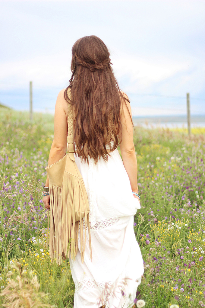 What to Wear to | The Calgary Stampede | Bohemian White Maxi Dress in a Field of Wildflowers // JustineCelina.com