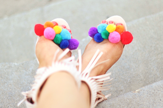 Shoes of Summer + End of Season Sales | DIY Pompom Sandal // JustineCelina.com