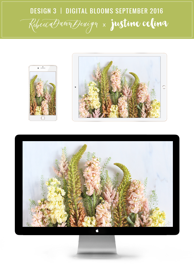 Digital Blooms Desktop Wallpaper 3 | September 2016 // JustineCelina.com x Rebecca Dawn Design