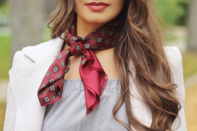 Pre Fall Transitional Style | How to Wear a Necktie Scarf // JustineCelina.com