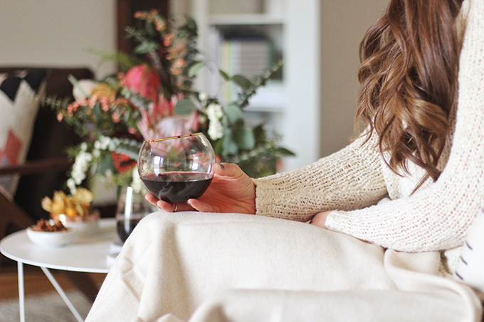 A Cozy Girls Night In | Red Rooster Merlot // JustineCelina.com