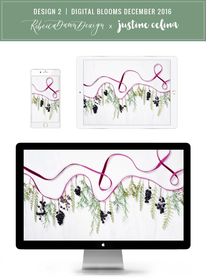 DIGITAL BLOOMS DECEMBER 2016   FREE TECH WALLPAPERS   Design 2 // JustineCelina.com