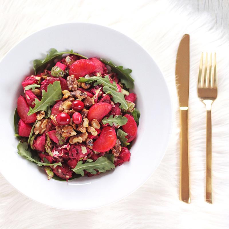 Festive Vegan Salad with Cranberry Dijon Vinaigrette // JustineCelina.com