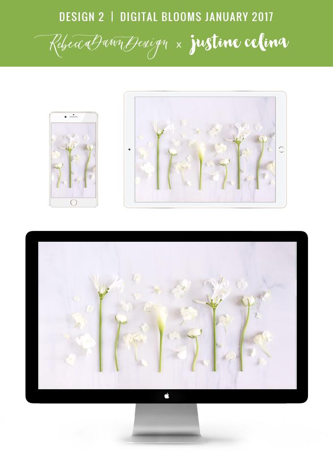 Digital Blooms January 2017 | Free Desktop Wallpapers | Design 2 // JustineCelina.com