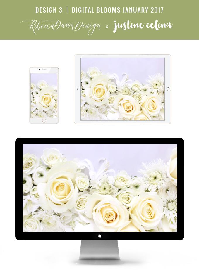 Digital Blooms January 2017 | Free Desktop Wallpapers | Design 3 // JustineCelina.com