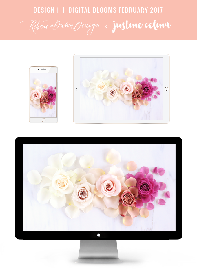 DIGITAL BLOOMS FEBRUARY 2017 | Free Desktop Wallpapers + Choosing to Spread Love | Design 1 // JustineCelina.com x Rebecca Dawn Design