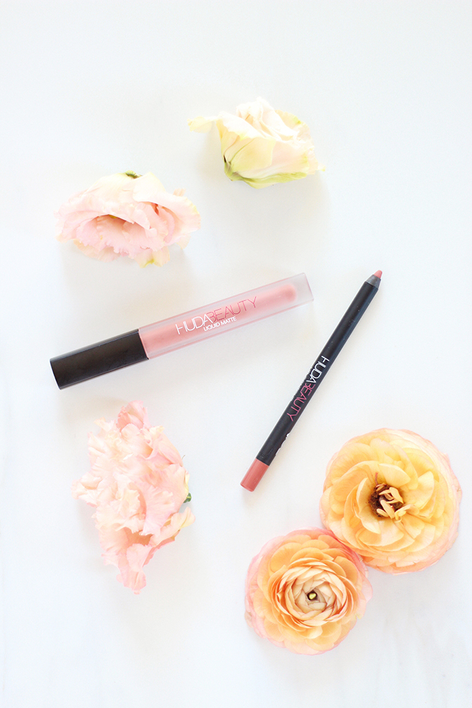 5 Fresh Neutral Lip Combos to Try this Spring | Huda Beauty Liquid Matte Lipstick in Bombshell Photos Review Swatches, Huda Beauty Lip Contour Matte Pencil in Bombshell Photos Review Swatches // JustineCelina.com