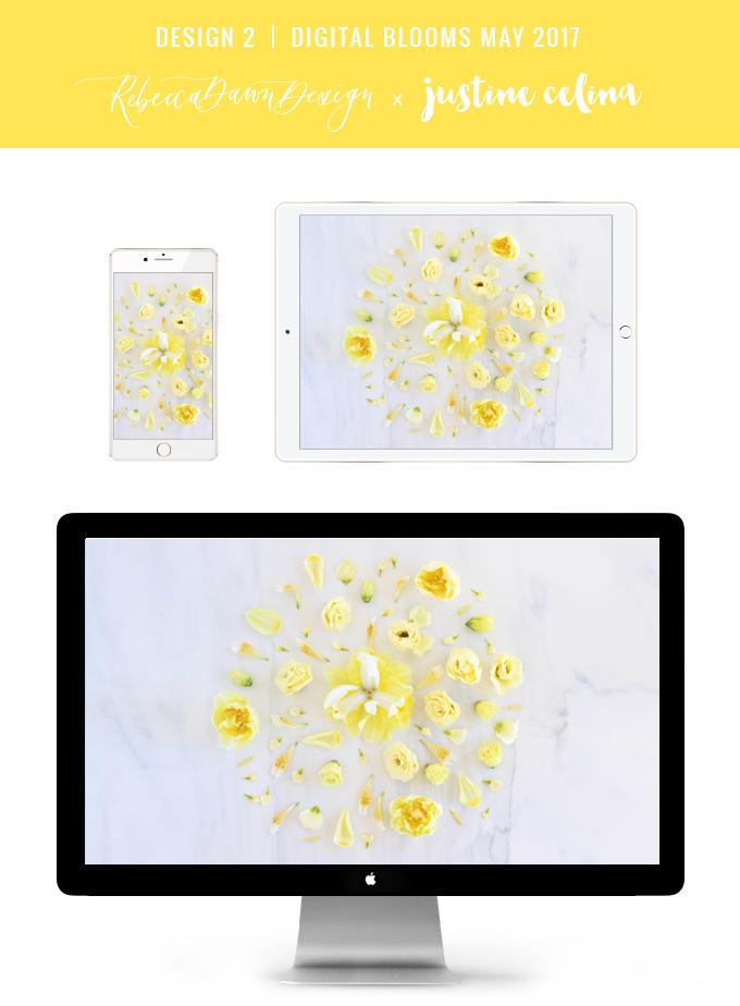 Digital Blooms May 2017 | Free Desktop Wallpapers | Design 2 // JustineCelina.com x Rebecca Dawn Design