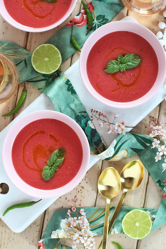 Spiced Strawberry Watermelon Gazpacho // JustineCelina.com