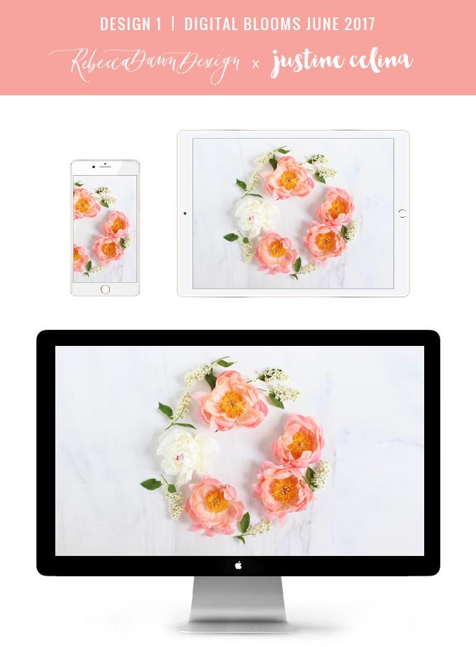 Digital Blooms June 2017 | Free Desktop Wallpapers | Design 1 // JustineCelina.com x Rebecca Dawn Design