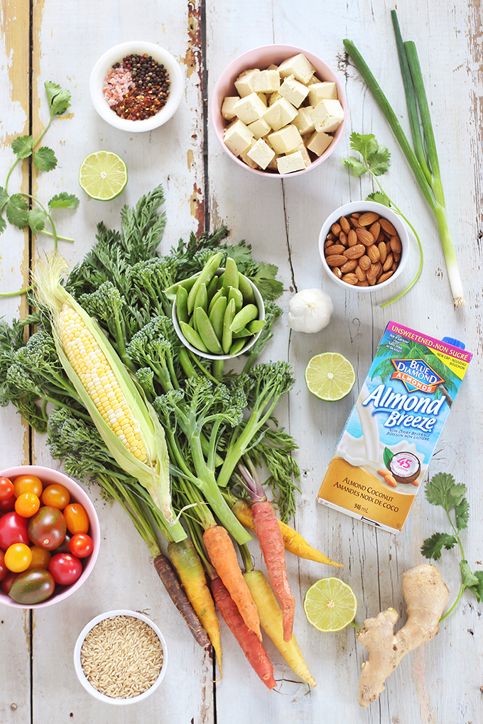 Spring Vegetable Stirfry with Coconut Ginger Tofu Ingredients (Wild Rose D-Tox Friendly!) // JustineCelina.com #sponsored