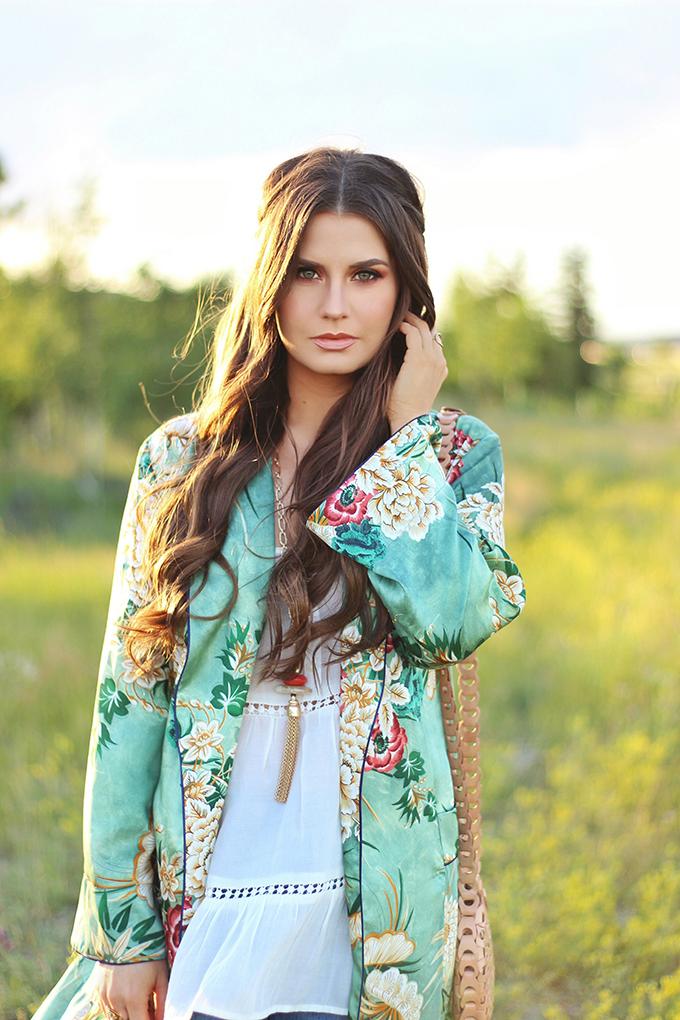 Summer 2017 Trend Guide   Kimono Love   Warm, Sunset Inspired Makeup // JustineCelina.com