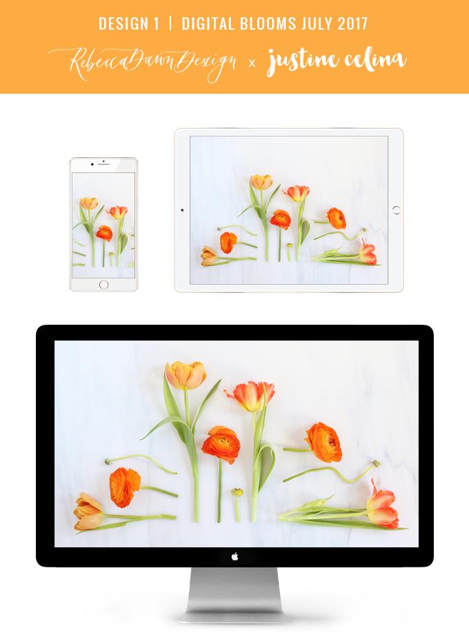 Digital Blooms July 2017 | Free Desktop Wallpapers | Design 2 // JustineCelina.com x Rebecca Dawn Design