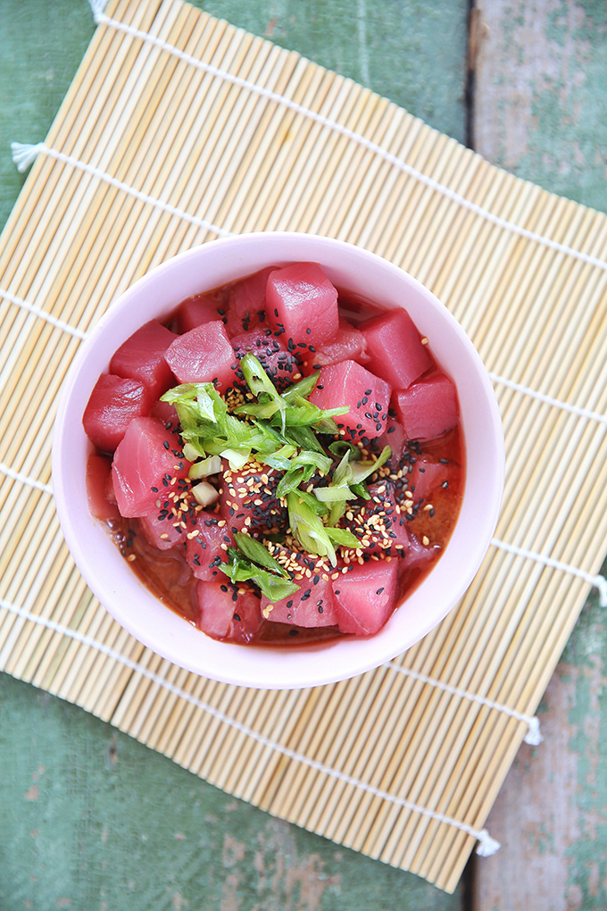How to Make Ahi Tuna Poke | #sponsored by Inspired Greens #dairyfree #glutenfree #sustainable // JustineCelina.com