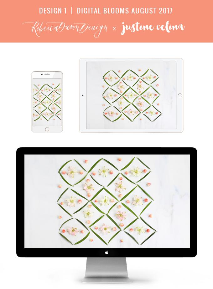 Digital Blooms August 2017 | Free Desktop Wallpapers | Design 1 // JustineCelina.com x Rebecca Dawn Design
