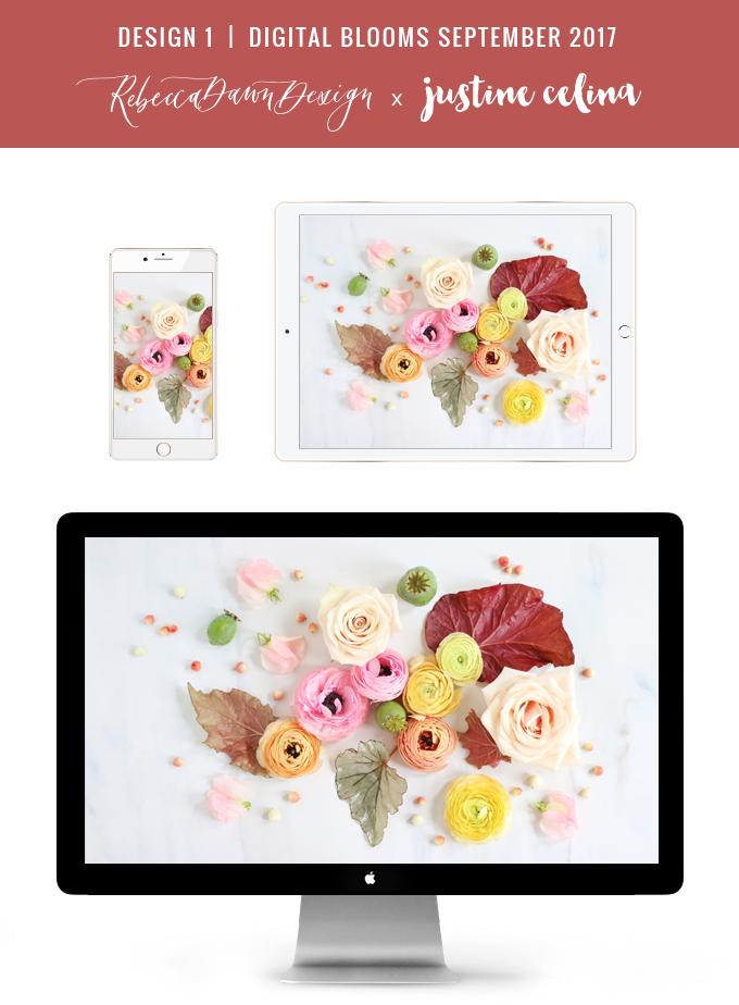 Digital Blooms September 2017 | Free Desktop Wallpapers | Design 1 // JustineCelina.com x Rebecca Dawn Design