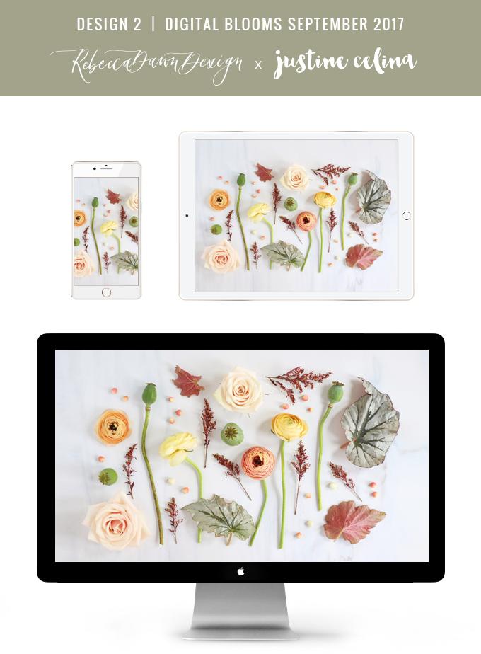 Digital Blooms September 2017 | Free Desktop Wallpapers | Design 2 // JustineCelina.com x Rebecca Dawn Design