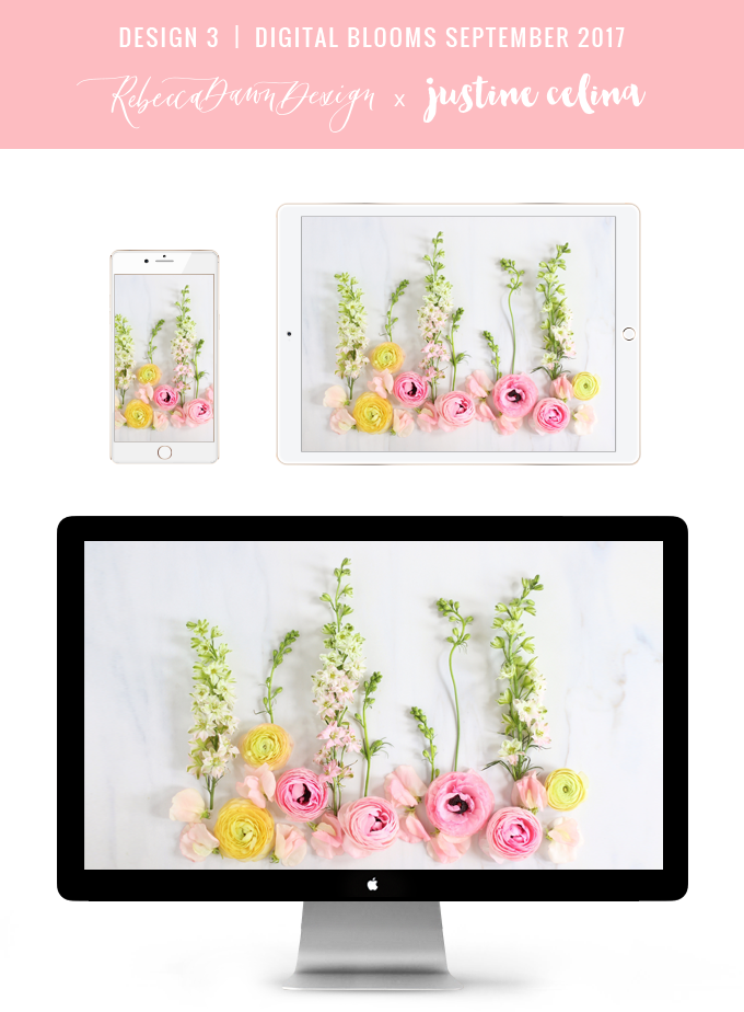 Digital Blooms September 2017 | Free Desktop Wallpapers | Design 3 // JustineCelina.com x Rebecca Dawn Design