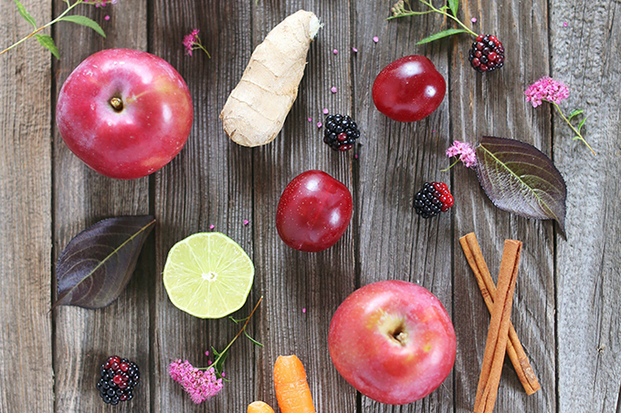 Radiant Red Juice Ingredients: Red Apples, Carrots, Red Pear, Red Plum, Ginger, Lime, CInnamon Stick // JustineCelina.com